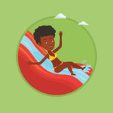 Woman riding down waterslide vector illustration. Royalty Free Stock Images