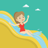 Woman riding down waterslide vector illustration. Royalty Free Stock Photography