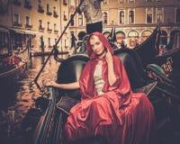 Woman riding on gondola Royalty Free Stock Image