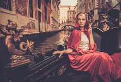 Woman riding on gondola Royalty Free Stock Photography