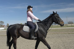 Woman Riding Horse. Young woman riding black horse in arena, wearing helmet Royalty Free Stock Image
