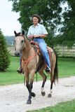 Woman riding horse. A middle-aged woman riding a brown buckskin horse Stock Images