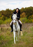 Woman riding a horse in the forest Royalty Free Stock Images