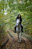 Woman riding a horse in the forest Stock Images