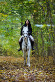 Woman riding a horse in the forest Royalty Free Stock Photography