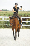 Woman Riding a Horse in Jumper Ring Royalty Free Stock Image