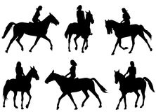 Woman riding horse silhouettes. Vector Stock Images