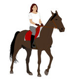 Woman riding horse 2. Vector Royalty Free Stock Photo