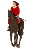 Woman riding horse 4. Vector illustration Royalty Free Stock Photography