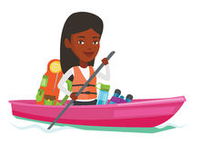 Woman riding in kayak vector illustration. Stock Photography