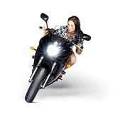 Woman Riding Motorbike At Speed Royalty Free Stock Image