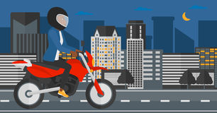 Woman riding motorcycle. Royalty Free Stock Photography
