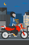 Woman riding motorcycle. Stock Images