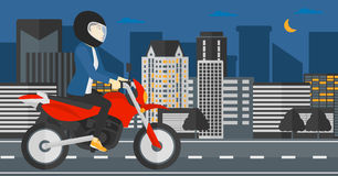 Woman riding motorcycle. Royalty Free Stock Images