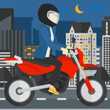 Woman riding motorcycle. Stock Photography