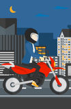 Woman riding motorcycle. Stock Photo
