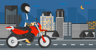 Woman riding motorcycle. Stock Image
