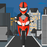 Woman riding motorcycle. Stock Photos