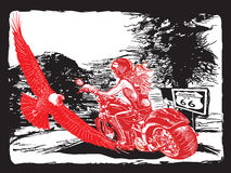 An woman riding motorcycle. An hand drawn vector. Freehand drawi Royalty Free Stock Image
