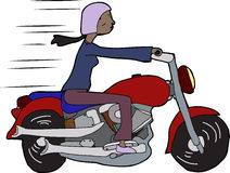 Woman Riding Motorcycle Royalty Free Stock Images