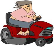Woman On A Riding Mower Royalty Free Stock Photography