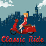 Woman riding on red motorcycle Stock Image