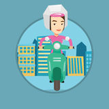 Woman riding scooter in the city. Royalty Free Stock Photos