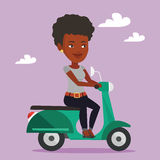 Woman riding scooter vector illustration. Royalty Free Stock Images