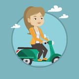 Woman riding scooter vector illustration. Royalty Free Stock Photos