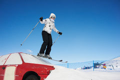 Woman riding in skiing Stock Image