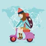 Woman riding vespa bike travel around the world map bag Royalty Free Stock Photo