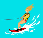 Woman riding wakeboard. extreme summer sport fun activity Royalty Free Stock Images