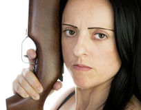 Woman with riffle Stock Photos