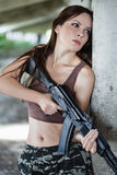 Woman with rifle (AK-74) Royalty Free Stock Photos