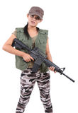 Woman and rifle Royalty Free Stock Photo