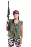 Woman and rifle Royalty Free Stock Photography