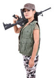 Woman and rifle Stock Photography