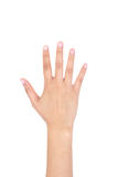Woman right hand showing the five fingers isolated. Stock Photos