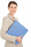 Woman with ring binder Royalty Free Stock Photo