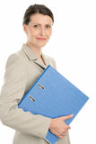 Woman with ring binder. Mature businesswoman holding ring binder isolated on white background Stock Images