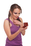 Woman with ring box Royalty Free Stock Photo
