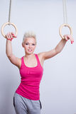 Woman on rings Stock Image