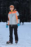 Woman on the rink in the evening Stock Photos