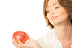 Woman with ripe apple Royalty Free Stock Photography