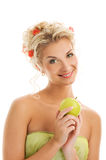 Woman with ripe green apple Royalty Free Stock Images