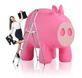 Woman rises up on the stepladder near piggy bank. Business woman rises up on the stepladder near big piggy bank isolated on white Stock Photo