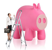 Woman rises up on the stepladder near piggy bank. Business woman rises up on the stepladder near big piggy bank isolated on white Stock Images