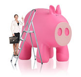 Woman rises up on the stepladder near piggy bank. Business woman rises up on the stepladder near big piggy bank isolated on white Royalty Free Stock Image