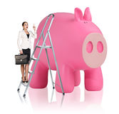 Woman rises up on the stepladder near piggy bank. Business woman rises up on the stepladder near big piggy bank isolated on white Royalty Free Stock Images