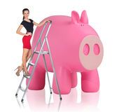 Woman rises up on the stepladder near piggy bank. Business woman rises up on the stepladder near big piggy bank isolated on white Royalty Free Stock Photos